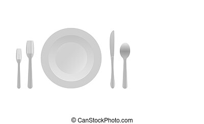 Cutlery set template. Round plate, knife, fork, spoon. Vector illustration on a white background.