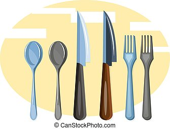 Cutlery set vector color illustration.