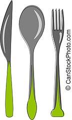 Cutlery Set, vector or color illustration.
