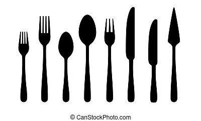 Cutlery silhouettes. Fork spoon knife black icons, silverware silhouettes on white background. Vector cutlery set