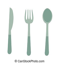 cutlery, spoon, fork, knife, flat, isolated object on a white background, vector illustration,