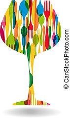 Cutlery wine glass shape illustration