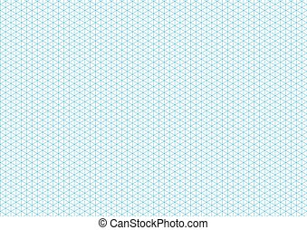 Cyan isometric grid with vertical guideline on horizontal a4 sheet size