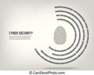 Fingerprint on digital binary code circle background.