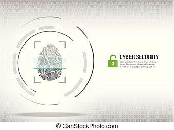 fingerprint scanning on digital white background.