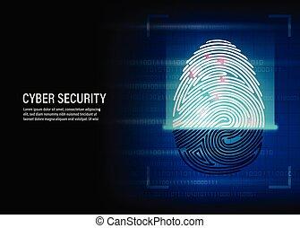fingerprint scanning vector on digital background