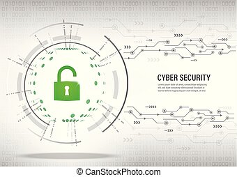 Cyber Security Concept on digital white background.