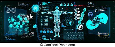 Cyborg Scan, Futuristic Interface HUD, GUI. Human-Robot Interaction With the Network, Analysis and Troubleshooting in HUD Style. 3d hologram Cyborg, bioengineering, bionic, sci fi. Vector illustration