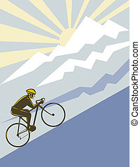Illustration of a cyclist riding up the mountain side view with the sun in the background