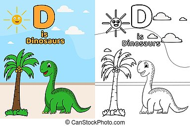 D is for Dinosaurs alphabet,coloring page, coloring book vector