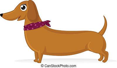 Cartoon illustration of dachshund with neckerchief.