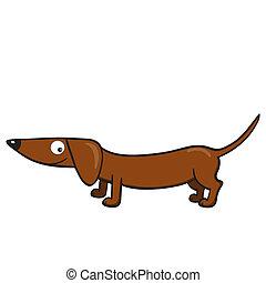 Vector illustration of smiling cute cartoon dachshund.