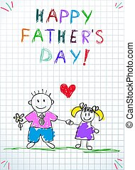 Dad with Daughter Happy Fathers Day Greeting Card