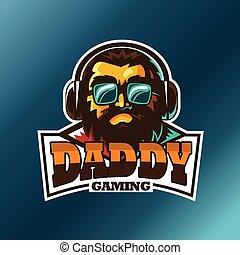 Daddy gaming, E sport vector logo