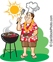 Vector Illustration of a happy man man grilling hamburgers and hot dogs outside. Flower lei can be removed, hamburgers and hot dogs can be moved around, and shirt pattern can be changed or removed).