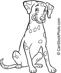 Black and White Cartoon Illustration of Cute Dalmatian Purebred Dog for Coloring Book