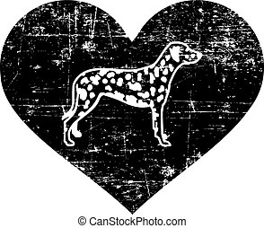 Dalmatian silhouette in black heart