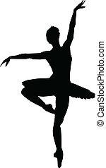 Dance girl ballet silhouettes - vector
