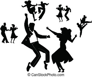 teens dancing over white from the vintage era