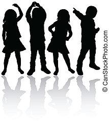 Dancing children silhouettes