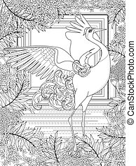 crane adult coloring page