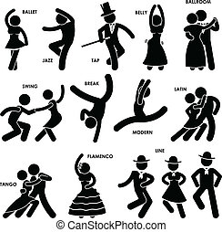 A set of pictogram representing dancing style of various type.