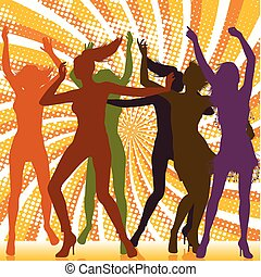 Dancing girls silhouettes with sunburst background