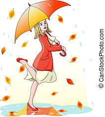 Young woman dancing in the rain under umbrella. Layers are separated