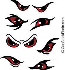 Danger red eyes set isolated on white background for mystery design