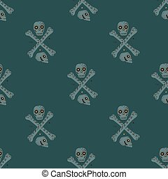Danger seamless doodle pattern with simple skulls and bones sihouettes. Grey pirate ornament on dark turquoise background.