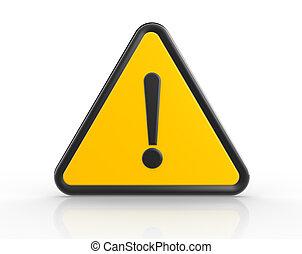 Danger warning sign. 3d render exclamation mark