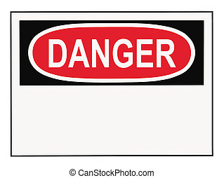 OSHA danger warning sign with copy space isolated on white