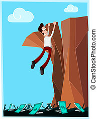 businessman in danger hanging at the cliff with money-monster below his feet