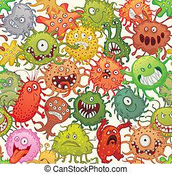 Dangerous microorganisms. Seamless pattern. Vector illustration