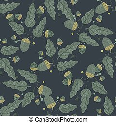 Dark autumn seamless pattern with hand drawn oak tree leaves and acorns shapes. Navy blue background.