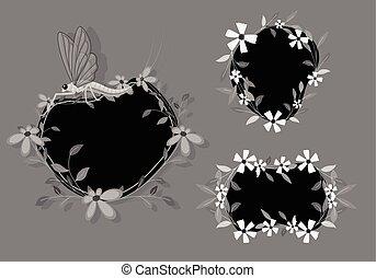Dark Floral Frames Designs