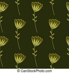 Dark floral seamless pattern with contoured abstract flowers. Design in golden palette and yellow and green tones.