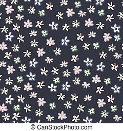 Dark floral seamless pattern with litttle chamomile flower shapes. Navy blue background and botanic light ornament.