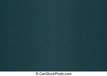 Dark green blue art with abstract seamless pattern