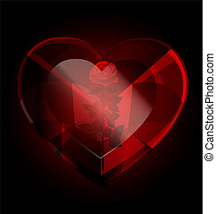 big dark red heart-crystal with rose inside