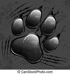 Dark animal paw print and scratches on black, vector illustration