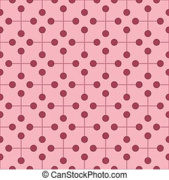 Dark red circles with red crosses on pink seamless background.