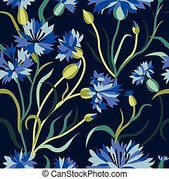 Dark Seamless Floral Pattern with Blue Cornflowers