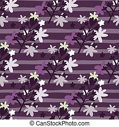 Dark seamless floral pattern with daisy flowers ornament. Purple background with strips and black botanic elements..