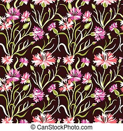 Dark Seamless Floral Pattern with Pink Cornflowers