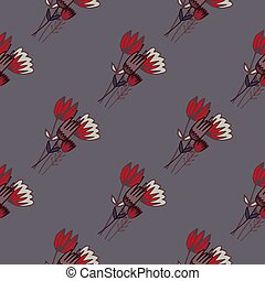 Dark seamless floral pattern with red tulip flowers contoured bouquet. grey background. Simple botanic backdrop.