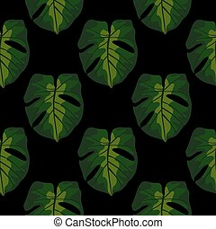 Dark seamless pattern with doodle monstera leaves silhouettes. Simple green silhouettes on black background.