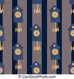 Dark seamless pattern with navy blue and beige colored cuckoo clock print. Striped grey background.