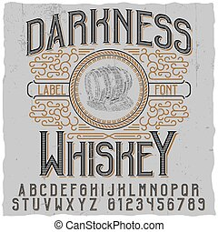 Darkness whiskey poster with image of wooden barrel vector illustration