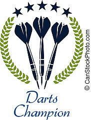 Sporting emblem or logo with darts, laurel wreath and text - Darts Champion, suitable for sport and heraldry design